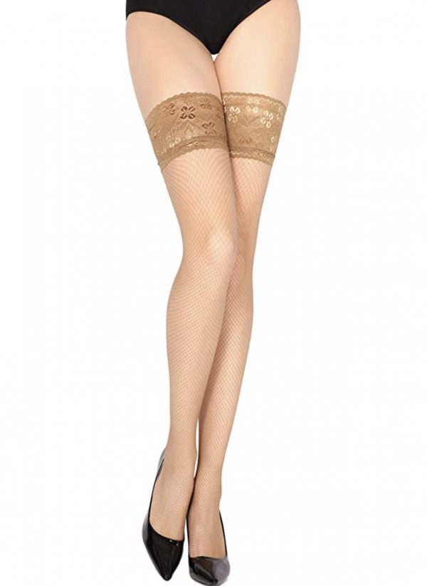 Beige Women's Fishnet Stockings