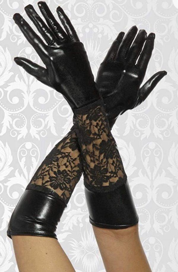 Wetlook gloves mit lace